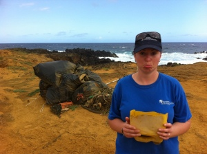 Bags from beach cleanup, South Point, HI